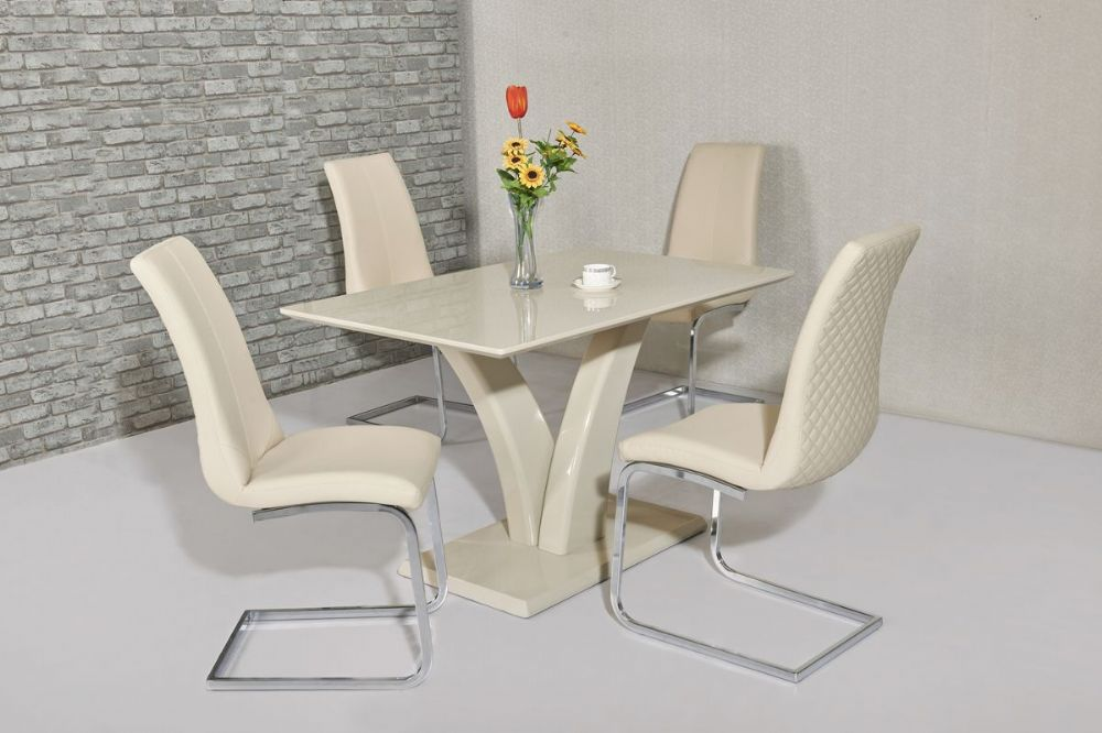 GA Elsa Cream Dining Table &  4 Cream /White Chairs